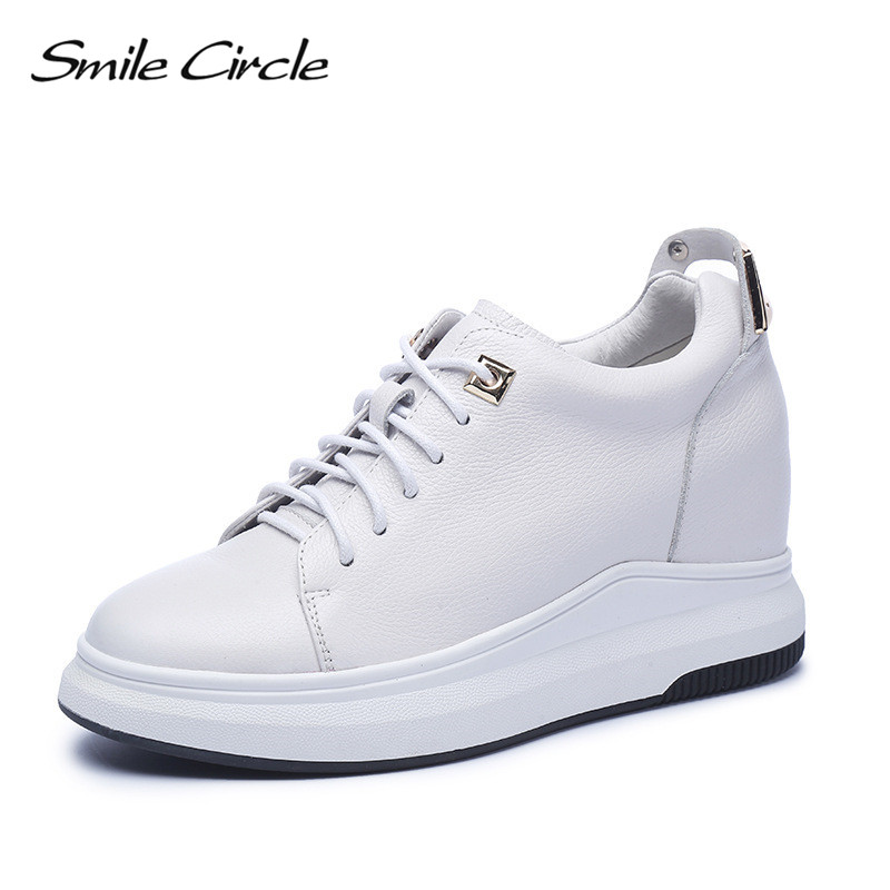 Smile Circle Wedges Sneakers Women Genuine Leather Casual Shoes Women Fashion Lace up High heel Platform