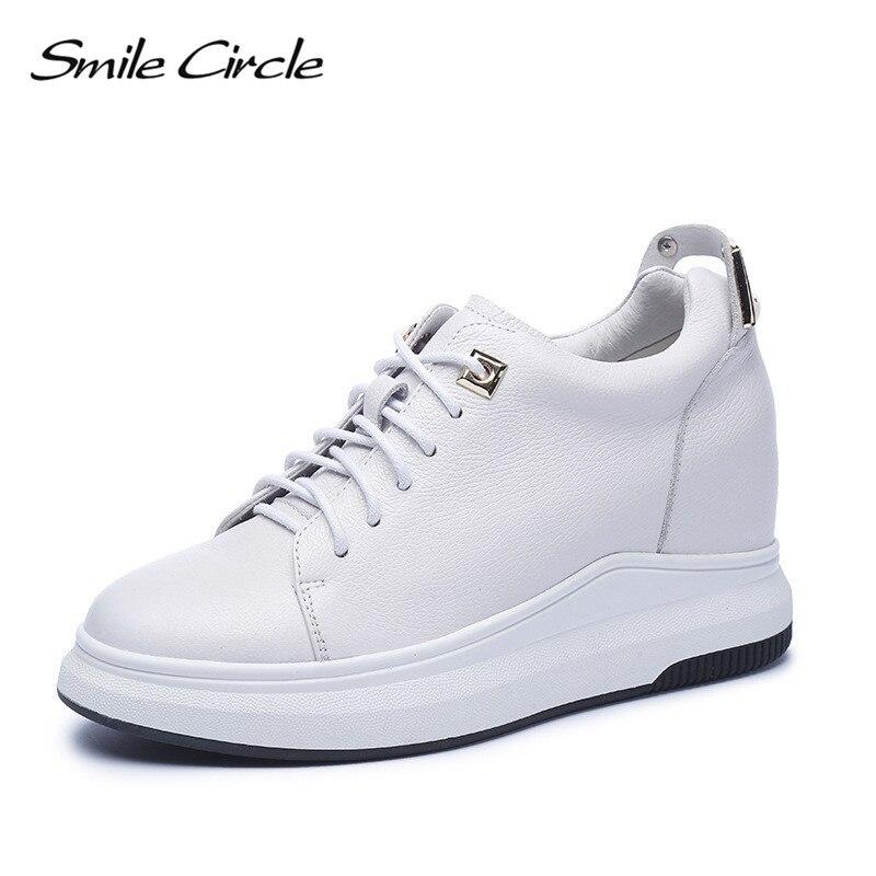 Femmes Plateforme Cuir Lacet blanc Cercle À En Talons Noir De Sneakers Véritable Décontractées Mode Coins 2018 Chaussures Sourire up Hauts WDHEI29