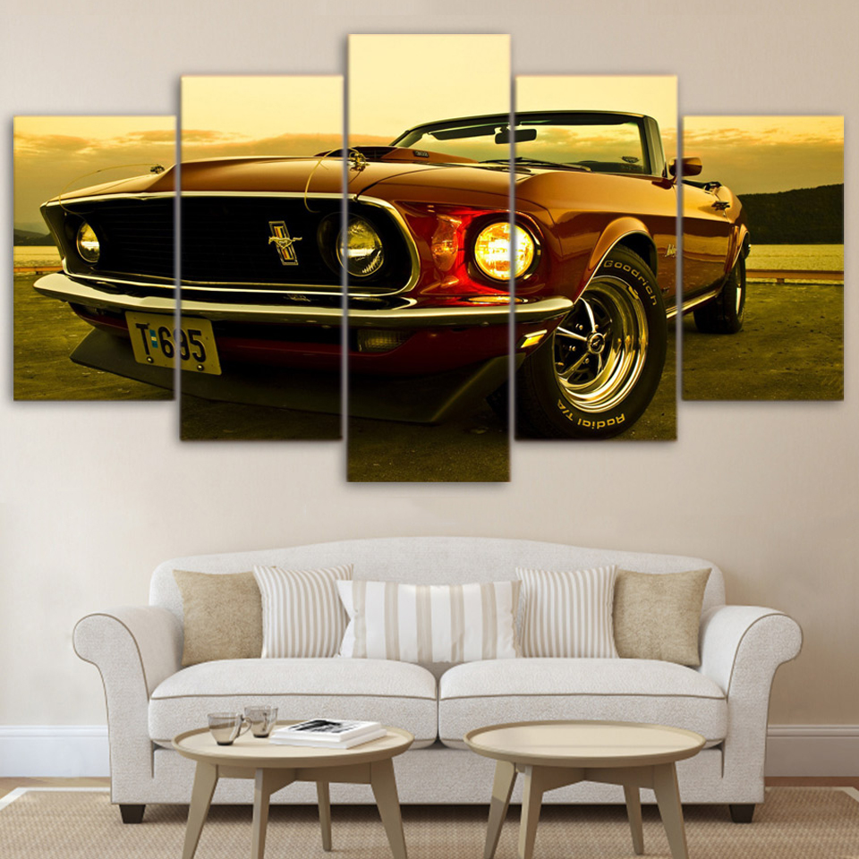 Living Room HD Printed Modern Posters Framework 5 Panel Vintage Car Modular Picture Wall Art Home Decoration Painting On Canvas