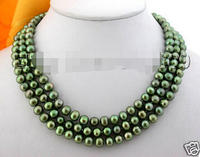 HOT## Wholesale > >>> 3row 9mm green round freshwater pearl necklace magnet