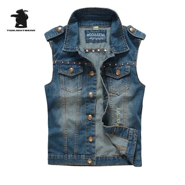 New men's Denim Vest Designer Fashion rivet Retro Hole High Quality Plus Size Casual Vest Men M~2XL CC4E8833