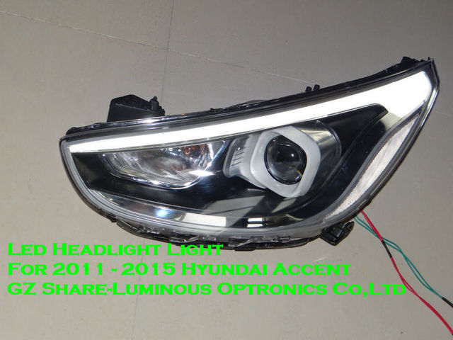 High Quality Led Headlight Embly For Hyundai Accent 2017 With Angel Eyes Projector Lens 1 Replacement Free Shipping