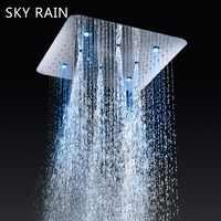 Cielo lluvia LED inteligente grifos termostáticos SPA masaje espray niebla techo montado ducha de baño