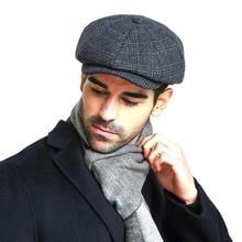 Fibonacci 2018 New Brand Quality Wool Plaid Beret Hats For Men Caps Autumn Winter Dad Newsboy Hat