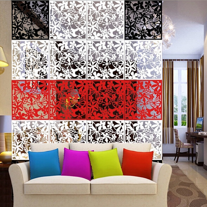 Order 1 Piece High Quality New 4pcs Flower Wallpaper Wall Sticker Hanging Screen Curtain Room Divider Partition Feshion