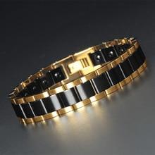 New Black and White Ceramic Bracelet Men Simple Domineering Magnetic Titanium Steel Health First Jewelry