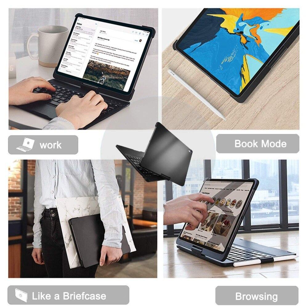 Funda para iPad Pro 11 10,5 9,7 7 Color retroiluminada 360 rotacio teclado inalámbrico Bluetooth para iPad 2018 2017 6th 5th Air 1 2 3 - 6