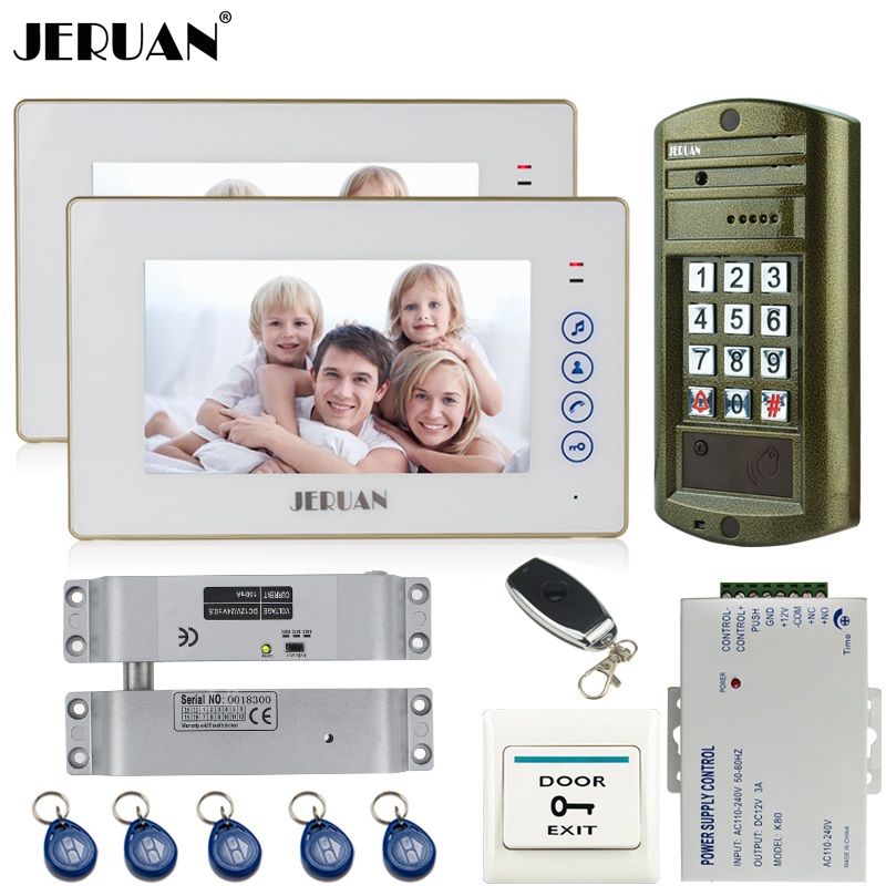 JERUAN Wired 7`` Video DoorPhone Intercom System kit 2 TOUCH KEY Monitor + Metal Waterproof Access Password HD Mini Camera 1V2