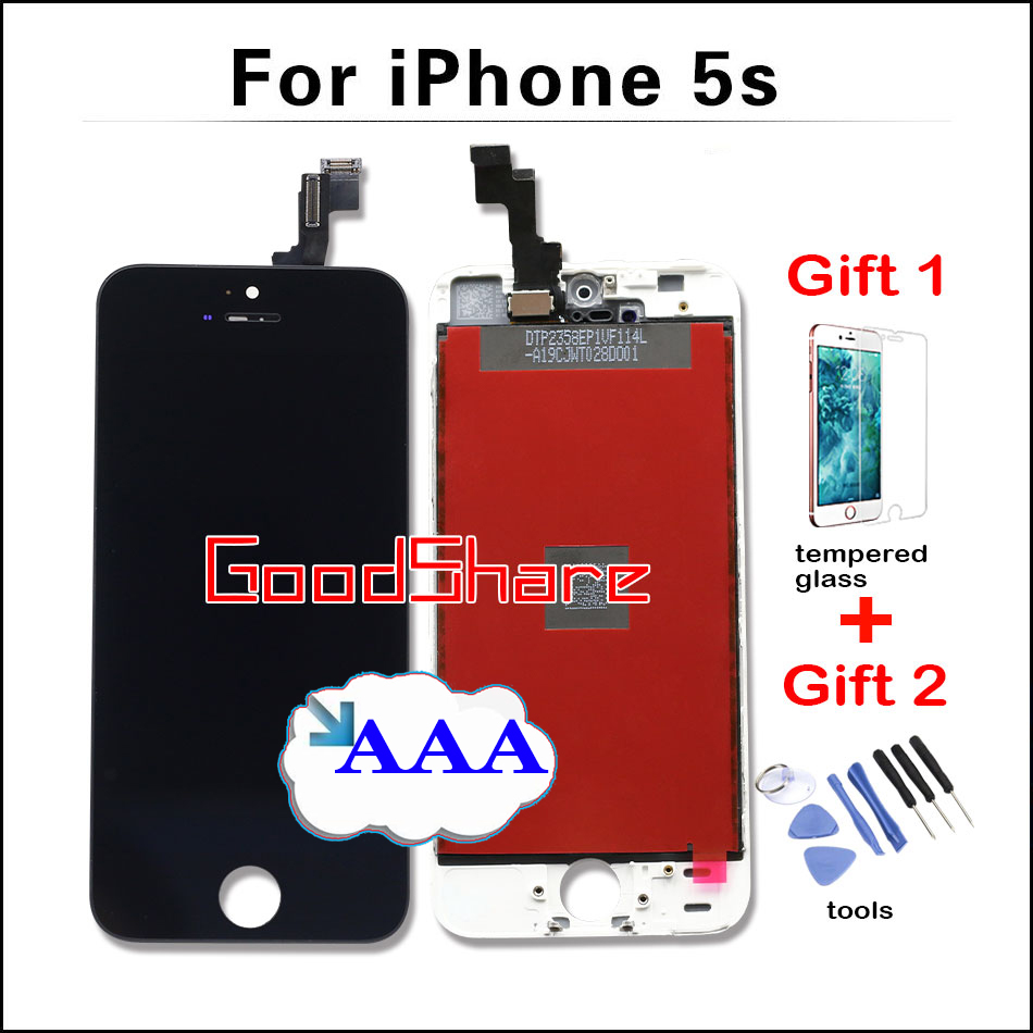 Подробнее о With Free Gifts Top AAA LCD Touch Screen for iPhone 5s Front Glass Display Digitizer Assembly Replacement Black/White Fast Ship 10pcs aaa top quanlity lcd for iphone 6 screen display digitizer replacement assembly white black color free dhl dhl