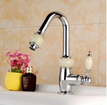 Top Quality Water Tap Jade and copper washroom basin faucet sink tap mixer hot & cold bathroom faucet Rose Gold sink faucet free shipping black color basin sink faucet single level hot and cold water copper mixer tap
