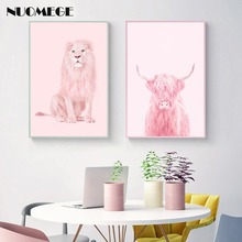 Nordic Lion Pink Cow Canvas Art Highland Cattle Poster Wall Picture Print Pink Girl Room Decoration Painting Scandinavian Decor