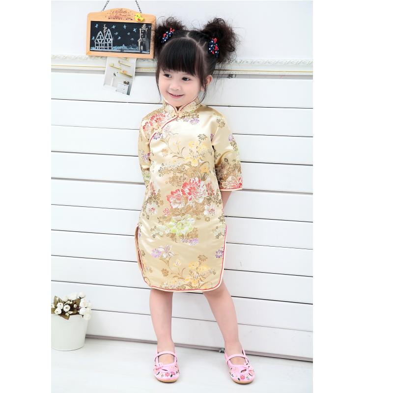 Peony Baby Girls Dress 2018 Chinese Qipao Clothes For Girls Jumpers Party Costumes Floral Children Chipao Cheongsam Jumper 2-16Y 3