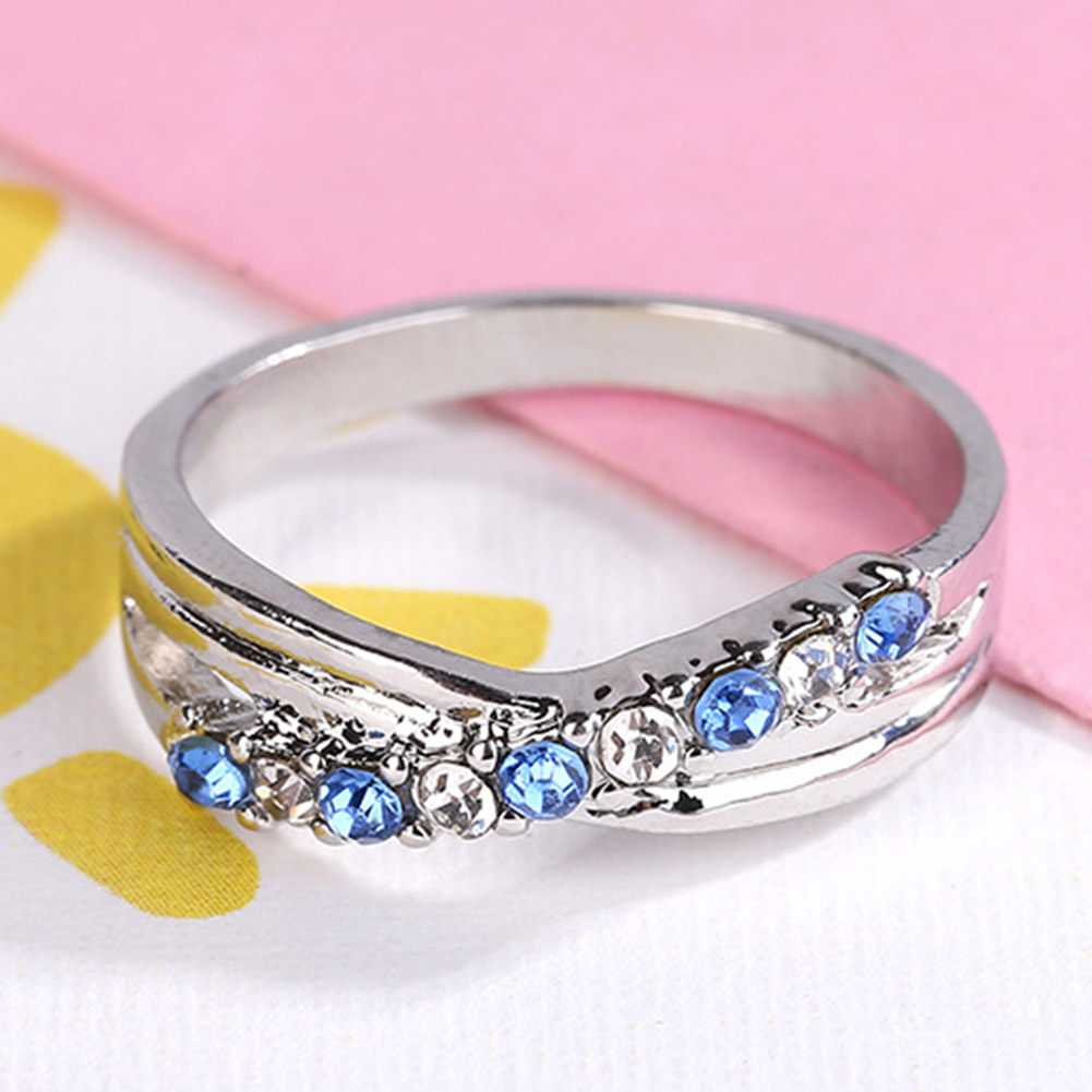 Cross Ring Light Blue Fashion White & Black Gold Filled Jewelry ...