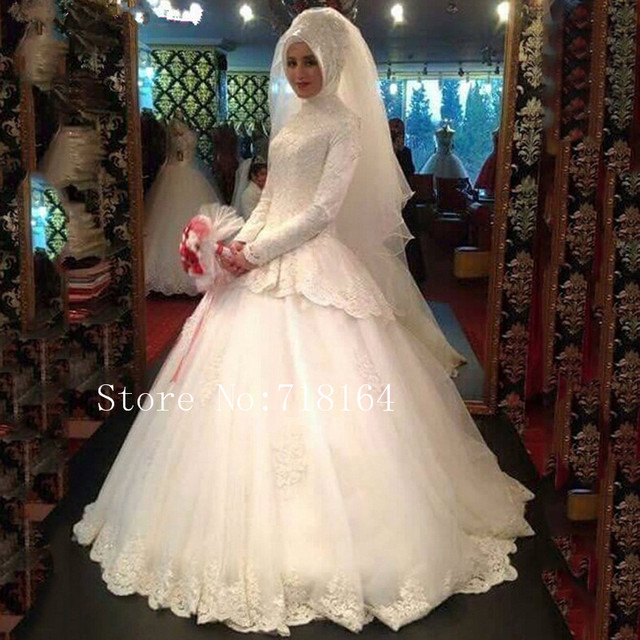 Traditional Long Sleeve Wedding Gowns: High Neck White Ivory Colors Long Sleeve Muslim Wedding