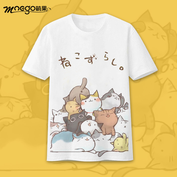 2017 Summer Style Anime Game Neko Atsume Tops & Tees Casual Cat T-shirt Women Japan Cool Clothes Print Female Harajuku Shirt
