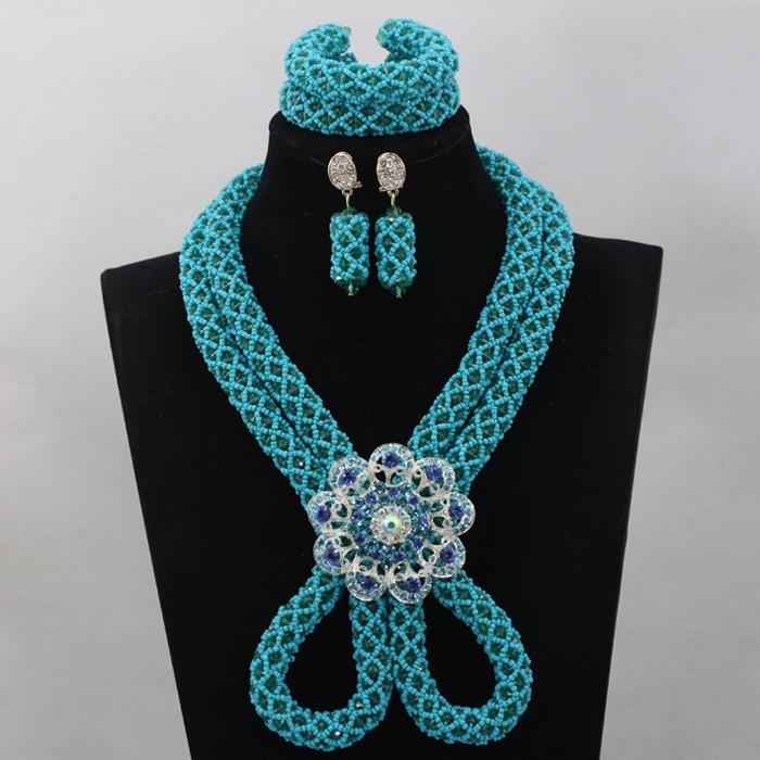 Luxury Blue Nigerian African Wedding Crystal Bead Jewelry Set Dubai Bride Necklace Set Free Shipping QW134