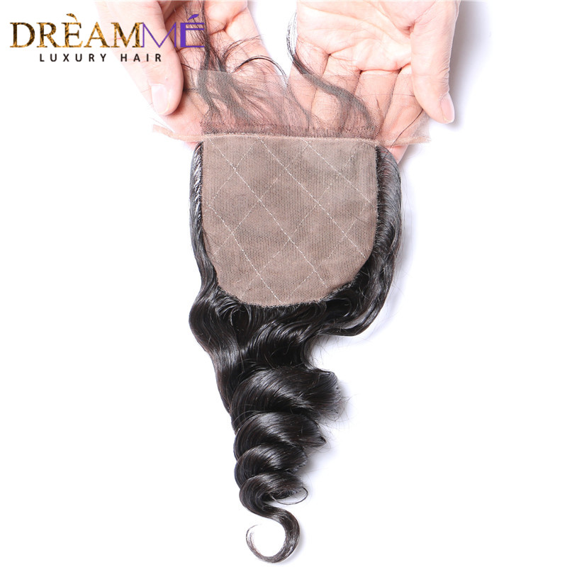 Dreamme Hair Loose Wave Peruvian Remy Hair Silk Base Closure 4 4 Closure Bleached Knots With