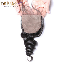Dreamme Hair Loose Wave Peruvian Remy Hair Silk Base Closure 4*4 Closure Bleached Knots With Baby Hair Natural Hairline