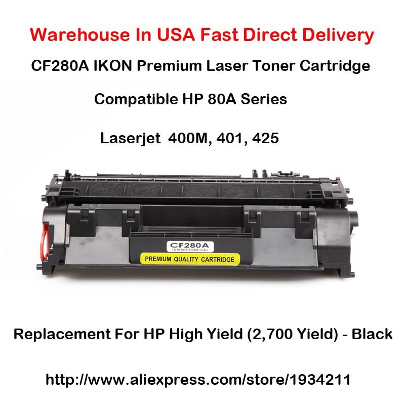 CF280A Laser Tonercartridge, 80A, serie Compatibel met HP LaserJet 400M, 401, 425 hoge opbrengst (2.700 opbrengst) - Zwart