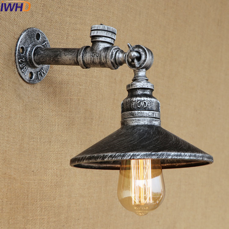 Loft Antique Industrial Wall Light Touch Switch Iron Water Pipe Retro Wall Sconce Creative E27 Edison Bulb Lamps Home Lighting black loft wrought iron industrial water pipe vintage retro wall lamp sconce creative beside lamps e27 edison home light fixture