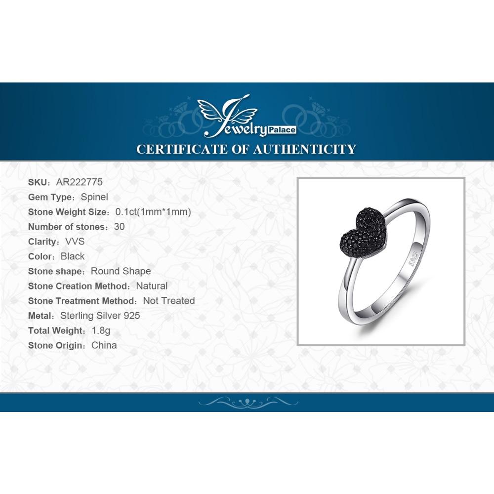 JewelryPalace Fashion Natural Black Spinel Love Heart Rings para - Joyas - foto 6