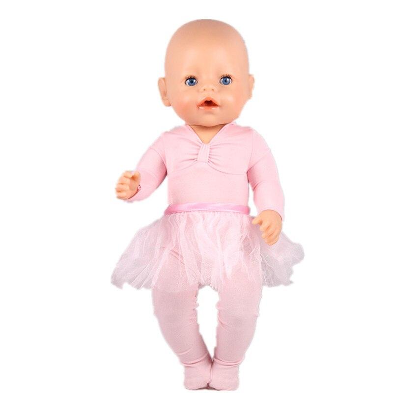 Pink Ballet Dance Dress And Leggings Wear Fit 43cm Baby Born zapf, Children Best Birthday Gift ZD52