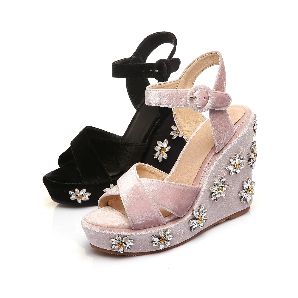 Wedge heel rivets women shoes fashion leather crystal sandals open toe ankle buckle strap sexy lady summer sandals ankle strap wedge heel shoes for women comfort open toe shoes girls sandals 2016 new summer