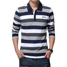 Haute qualité 2020 automne hommes rayure broderie T shirt lettres imprimer à manches longues T shirt revers chemise T shirt grande taille 5XL