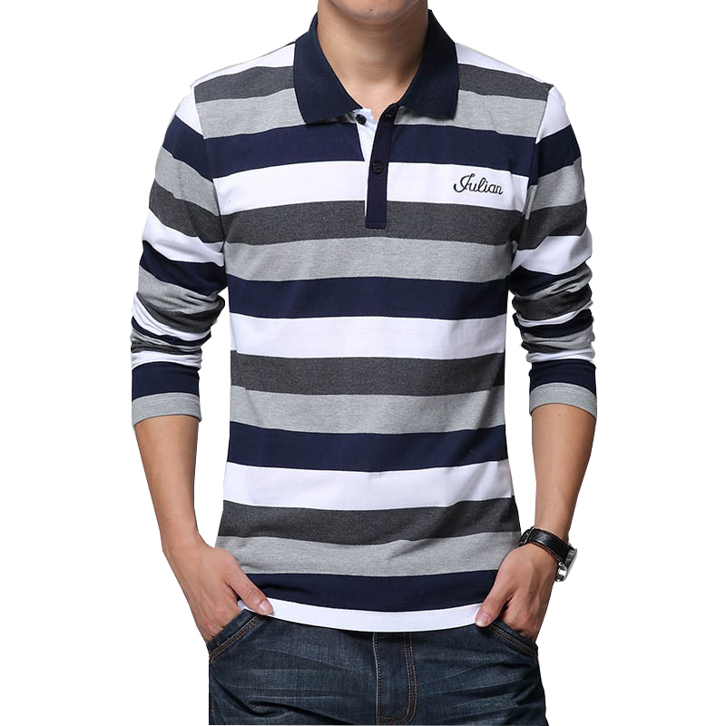 b9f87a19c4a Men s Stripe Embroidery T-shirt Letters Print Long Sleeved – Bingecart