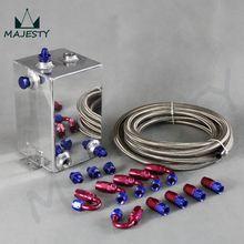 3L Aluminium Universal Complete 6AN Fuel Surge Tank 3 Litre Swirl Port+5m fuel/oil line+hose end / adapter System blue and black