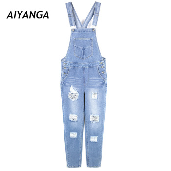 High quality Strap Jeans For Women Fashion Hole Cool Overalls Pants Big Size Casual Jumpsuit Big Size Denim Trousers Female plus size women in overalls