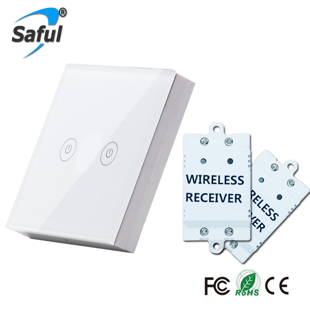 Saful 2 Gang 2 Way Wall Touch Switch white Crystal Glass Remote Wireless Switch Screen Led Home Light Free Shipping smart home us au wall touch switch white crystal glass panel 1 gang 1 way power light wall touch switch used for led waterproof