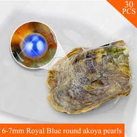 Wholesale Blue Pearls 30pcs Vacuum Packed Oysters With 6 7mm Round Akoya Pearls