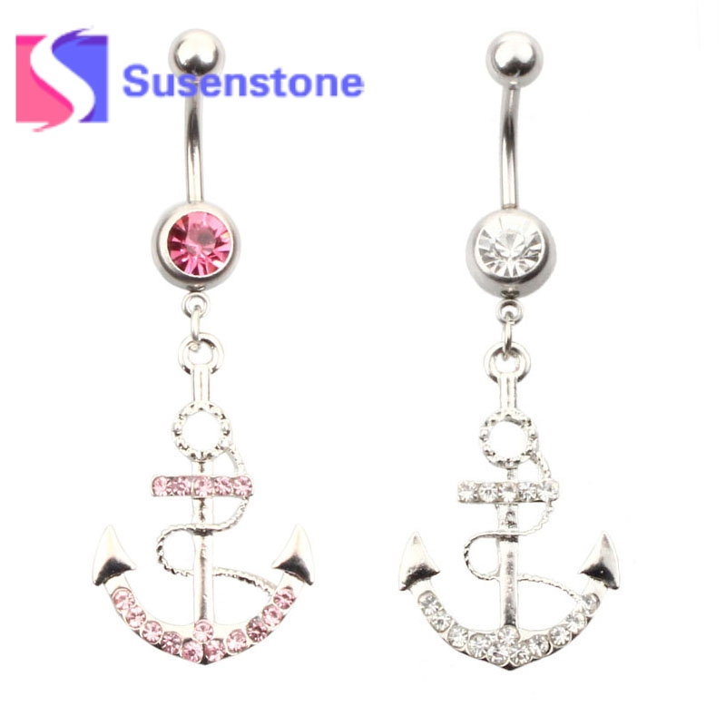 1pc Fashion Rhinestone Anchor Dangle Belly Button Ring Bar Surgical Piercing Sexy Body Jewelry Women Navel Piercing Wholesale