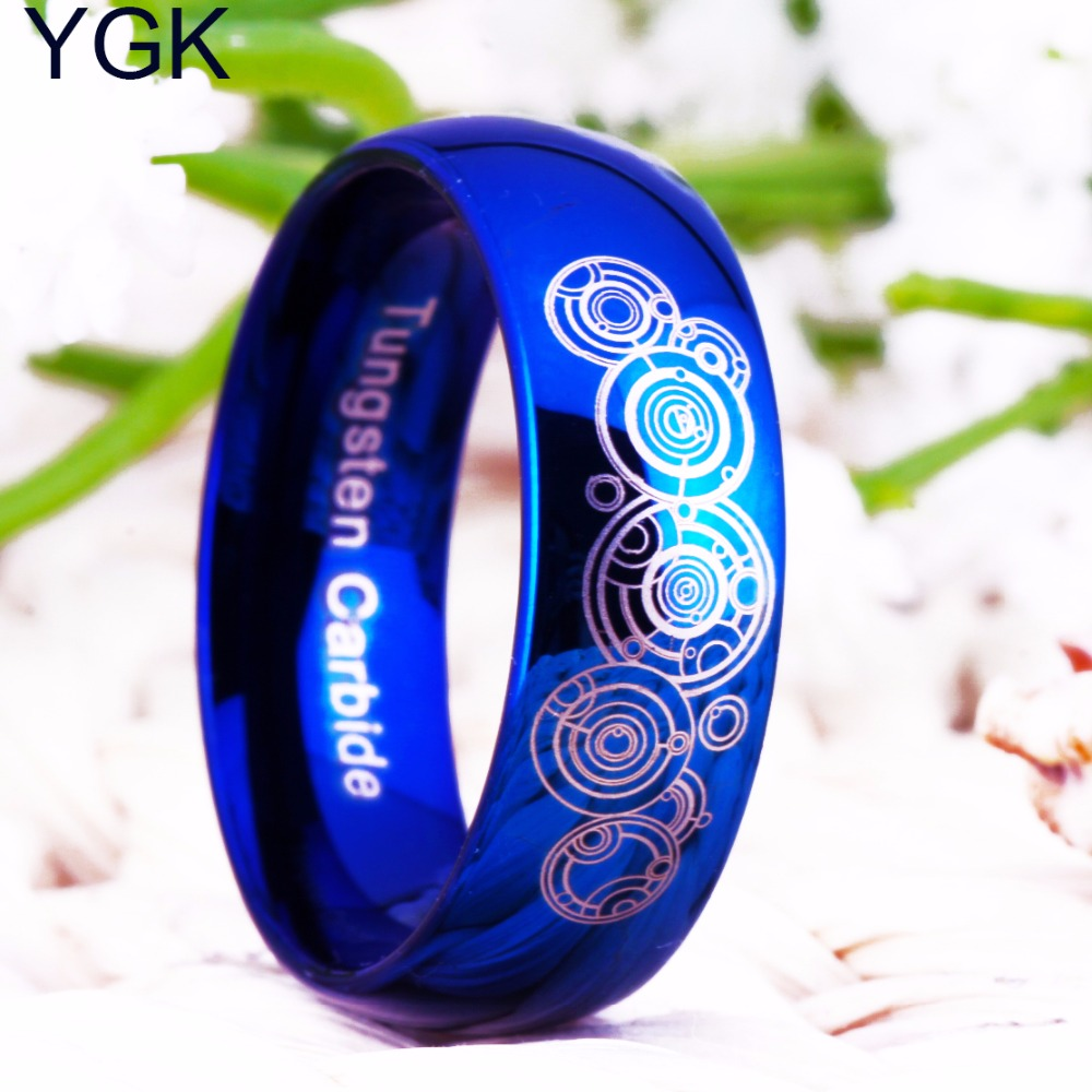 Bridal Jewelry Wedding Band Engagement Rings 8mm Doctor Who Blue Dome Men and Women's Fashion Tungsten Ring Anniversary Gift