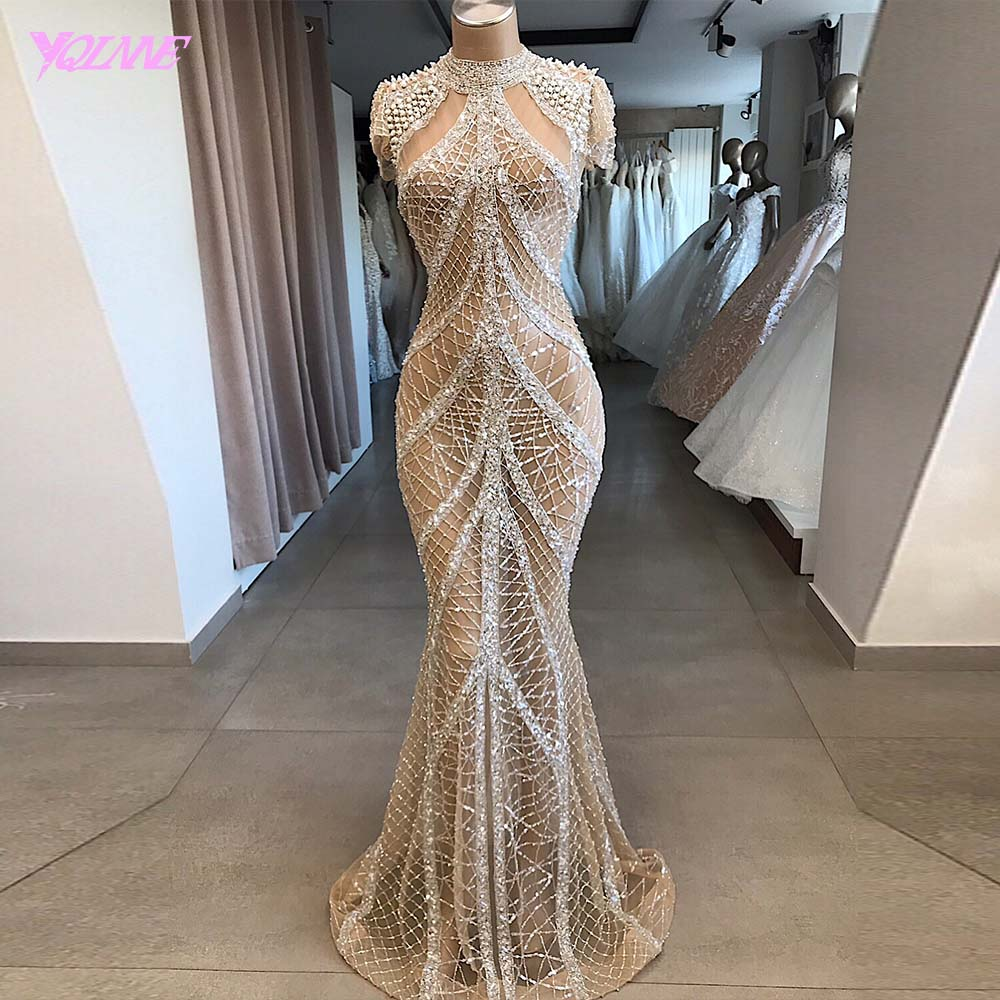 Stunning Crystal   Evening     Dress   Long 2020 High Neck Beaded Cap Sleeve Formal Gown Mermaid   Dresses   Sparkly YQLNNE