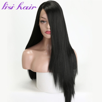 LISI HAIR 26 inches black golden Cyan Pink long Straight Synthetic Front Lace Wigs For Black Women African American hair