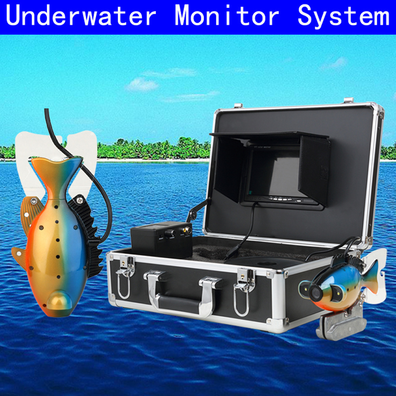Underwater Fish Finder Professional Fishing Video Camera with 7 TFT Color LCD Hd Monitor 50M Cable Length with Carry Case 7 tft lcd fishing camera dvr system 24ir leds fish finder 50m hd 700tvl underwater video camera system with night vision