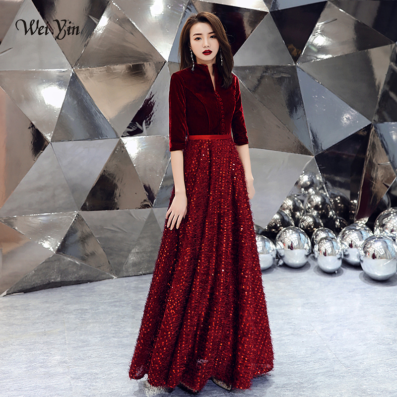 wei yin 2019 Wine Red   Evening     Dress   V-neck Half Sleeve Lace Sequins Floor-length Formal Prom Gowns Custom Robe De Soiree WY1615
