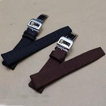 Nylon + cuero de vaca venda de reloj 20 mm 22 mm negro marrón patrón especial correas de reloj de la correa pulseras de plata pliegue ing hebilla nueva