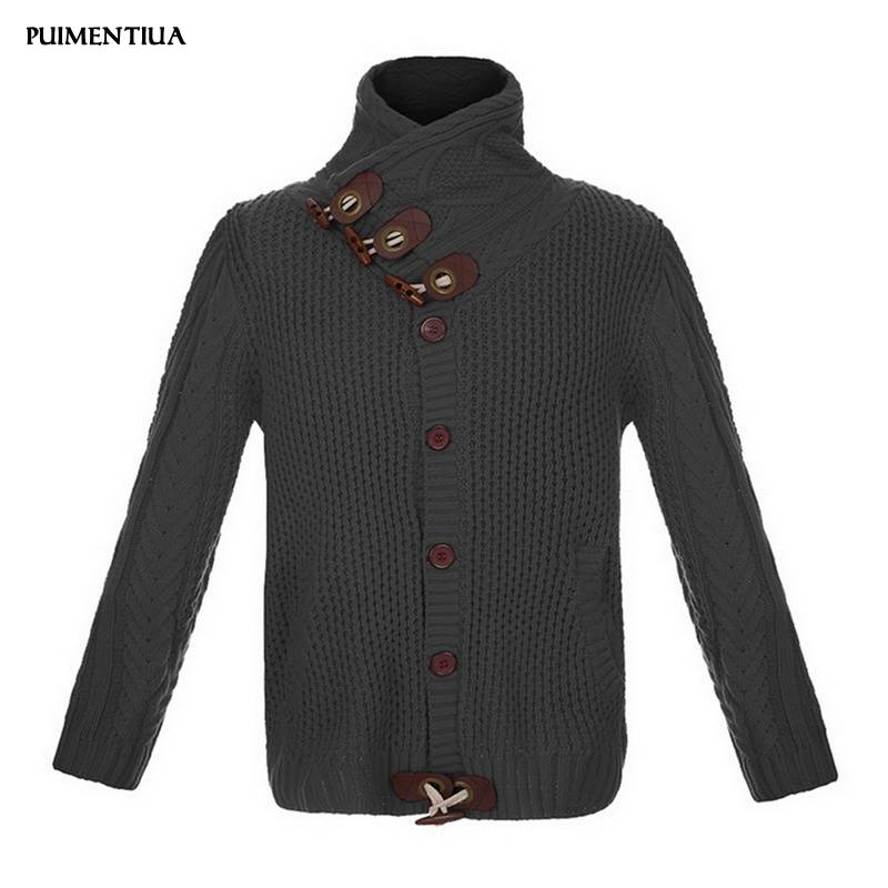Puimentiua 2019 Autumn Winter Turtleneck Cardigan Male Fashion Sweater Coat Slim Fit Warm Knitting  Clothes With Long Sleeve Men