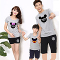 2015 Summer Family Shirts Cute Cartoon Mouse Mother Father Baby Clothes Causal Family Look Outfits C30
