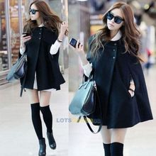 2015 Fashion Women's Winter Jacket Casual Black Batwing Nylon Wool Warm Cloak Poncho Capes Coat  for Lady