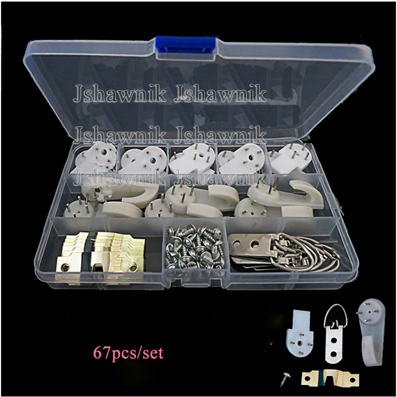 67pcs/set plastic and screw accessories no trace nail hook invisible hang picture frame clock hanger fixmee 50pcs white plastic invisible wall mount photo picture frame nail hook hanger