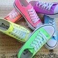 2017 fanshion plataforma sapatas de lona das mulheres sapatos feminino cor neon fina mão-pintado sapatos para as mulheres sapatos casuais todo o jogo
