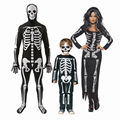 Clásico esqueleto de halloween cosplay costume dress mono del mono del spandex disfraces de halloween para mujeres hombres niños de la familia