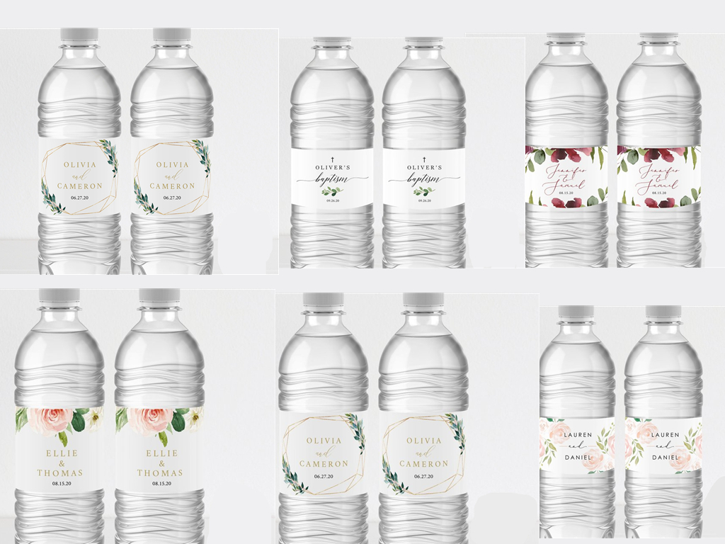 6 Styles Custom Wedding Bottle Water Labels Girls Birthday Party Bottle Wrappers Decoration Supplies Custom Name Date