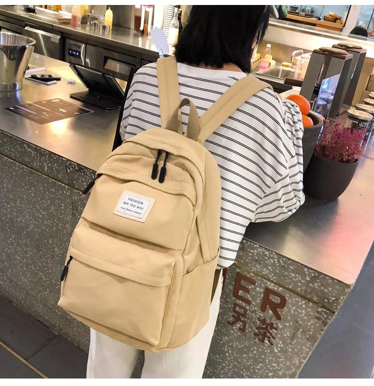 HTB1aR0dTSzqK1RjSZFjq6zlCFXaH Nylon Backpack Women Backpack Solid Color Travel Bag Large Shoulder Bag For Teenage Girl Student School Bag Bagpack Rucksack