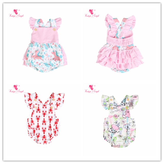 1b4519a78102 Kaiya Angel New Fashion Newborn Baby Summer Sleeveless Toddler Girls Clothes  Lovely Unicorn Printed Ruched Jumpsuit 5PCS LOT