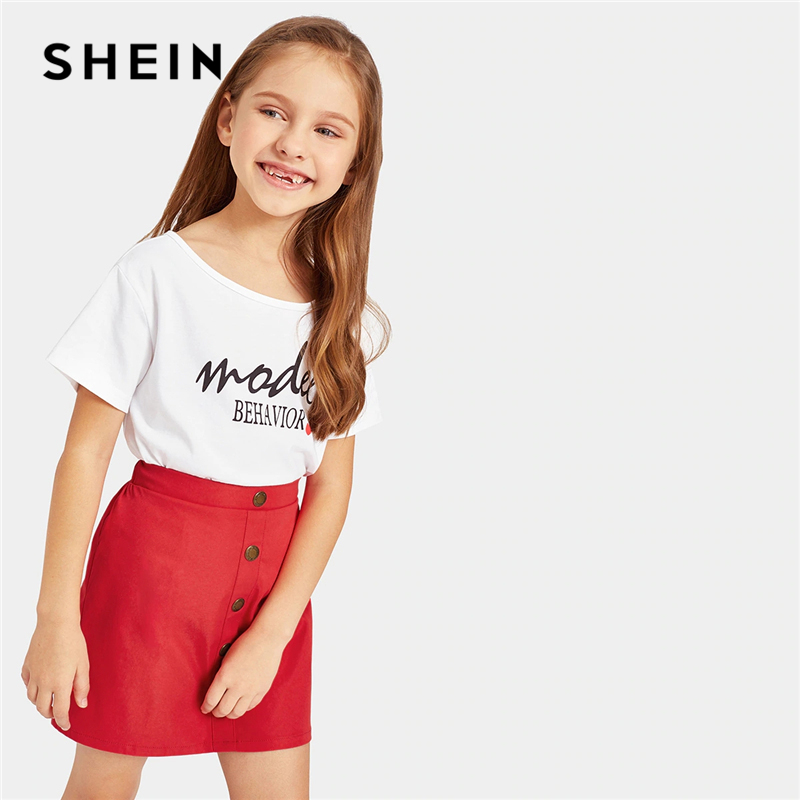 SHEIN Kiddie Letter Print Tee And Button Skirt Teenager Girls Outfits Clothing 2019 Summer Short Sleeve Casual Kids Clothes black basic round neck super letter print tee